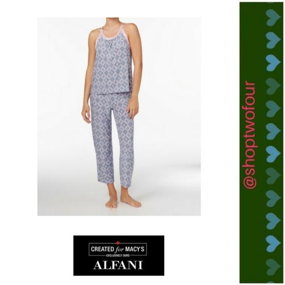d46c9d614fe9 Alfani Intimates & Sleepwear | Satintrimmed Printed Knit Pajama Set ...